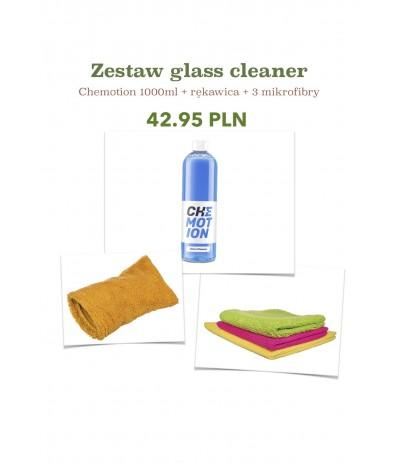 Chemotion glass cleaner + 3 szt mikrofibra + rękawica